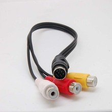 7 Pin S video male to 3 RCA Female video adapter cable new