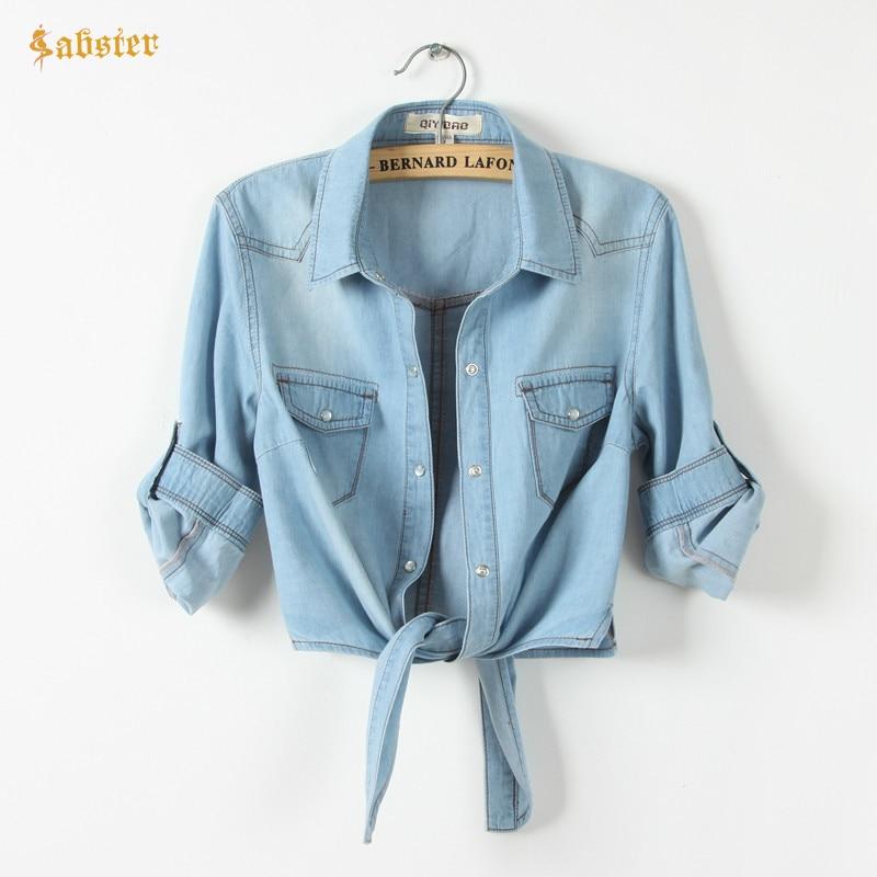 Hot Sale Girls Slim Top New Summer Women Casual Cropped sleeves Shirt Female Denim Shirts women's Fashion Short Blouse XZ120
