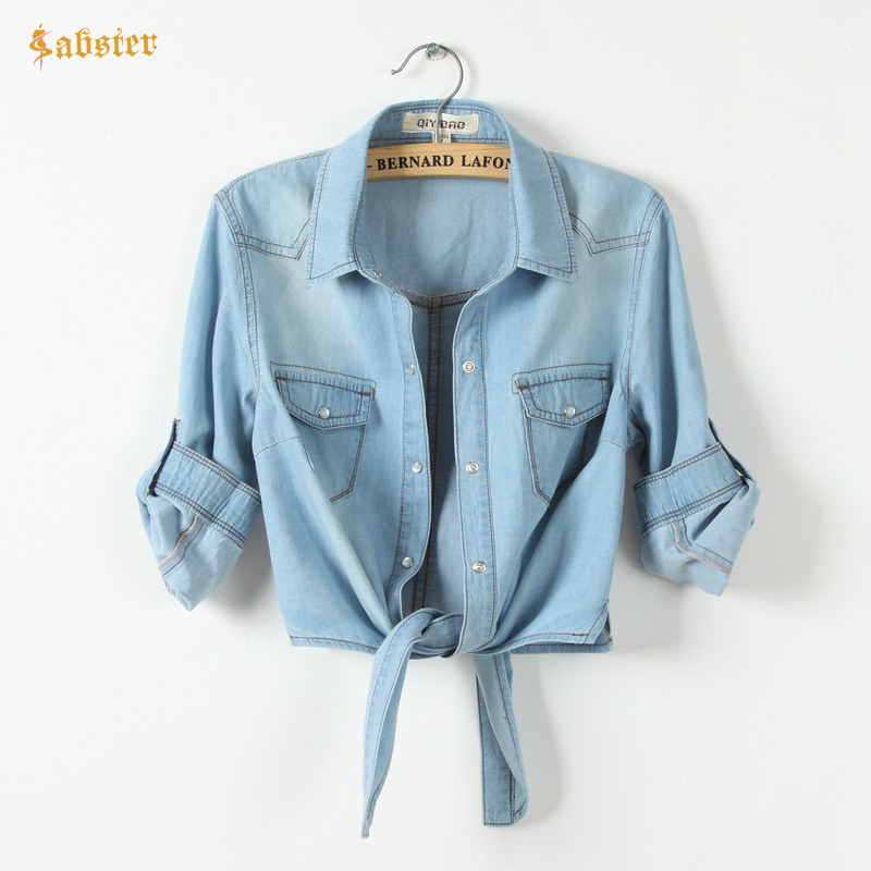 Hot Sale Girls Slim Top New Summer Women Casual Cropped sleeves   Shirt   Female Denim   Shirts   women's Fashion Short   Blouse   XZ120