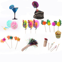 Cocktail Parasol Drink Umbrellas Fruit Fork Bamboo Toothpick Cake Decorative Cocktail Sign For Wedding Christmas Birthday Party(China)