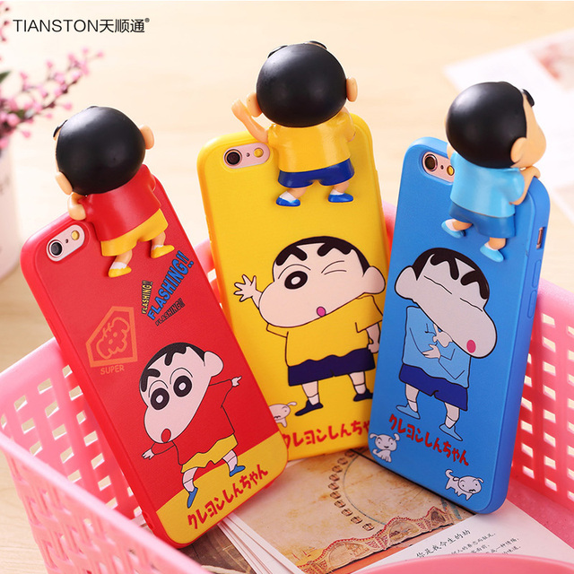 aaceb38e4a0 TIANSTON Squishy Case For iPhone 7 7plus Crayon Shin-chan 3D Cartoon Supreme  TPU phone back cover Doll Shell capa coque fundas