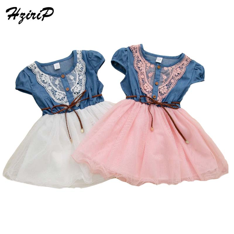 HziriP 2017 New Girls Summer Dress Fashion Princess Dresses Lace Cowboy Splice Kids Clothes Birthday Dress Fit 3-8 Year Old azel elegant latest new child dress for 2 3 year old girls vestidos fashion summer kid clothing little girls daily clothes 2017