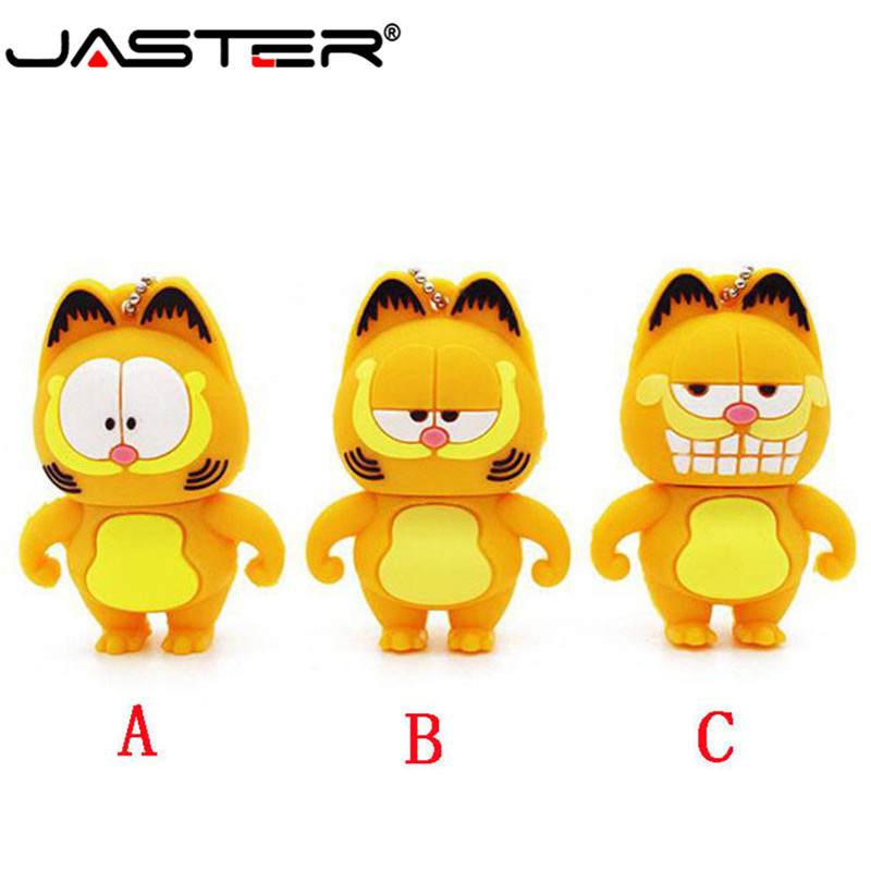 JASTER  The New Cute Garfield USB Flash Drive USB 2.0 Pen Drive Minions Memory Stick Pendrive 4GB 8GB 16GB 32GB 64GB Gift