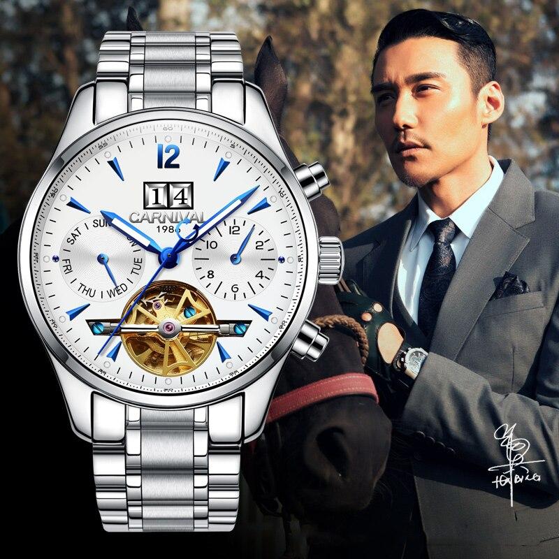 Здесь продается  Luxury Carnival watch tourbillon men stainless steel waterproof Automatic machine date white dial wristwatch relogio feminine  Часы
