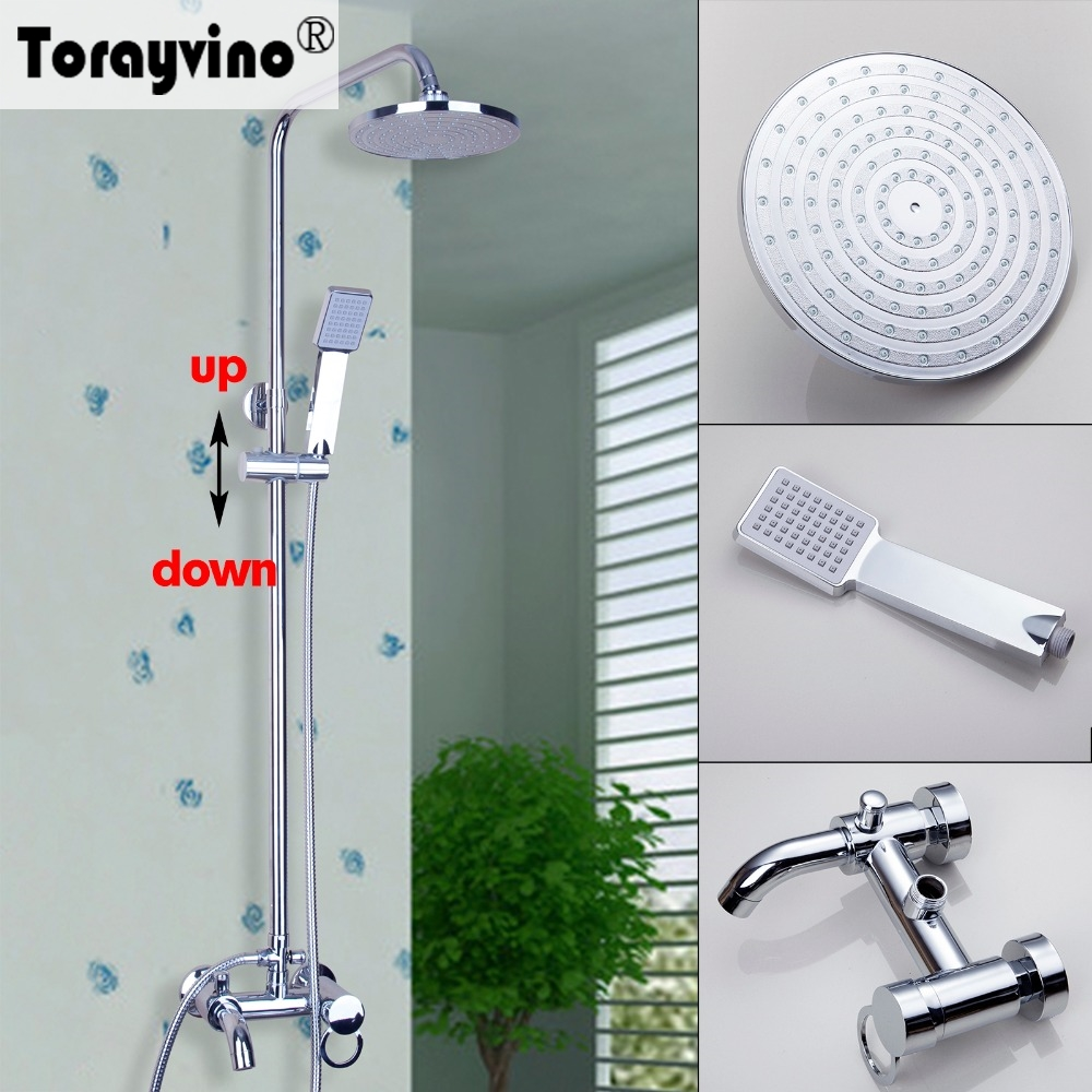 Torayvino Grand Special Design Shower Faucet Chrome Polished Wall Mounted Hot Cold Water Mixer Bathroom Faucet Shower Set free shipping polished chrome finish new wall mounted waterfall bathroom bathtub handheld shower tap mixer faucet yt 5333
