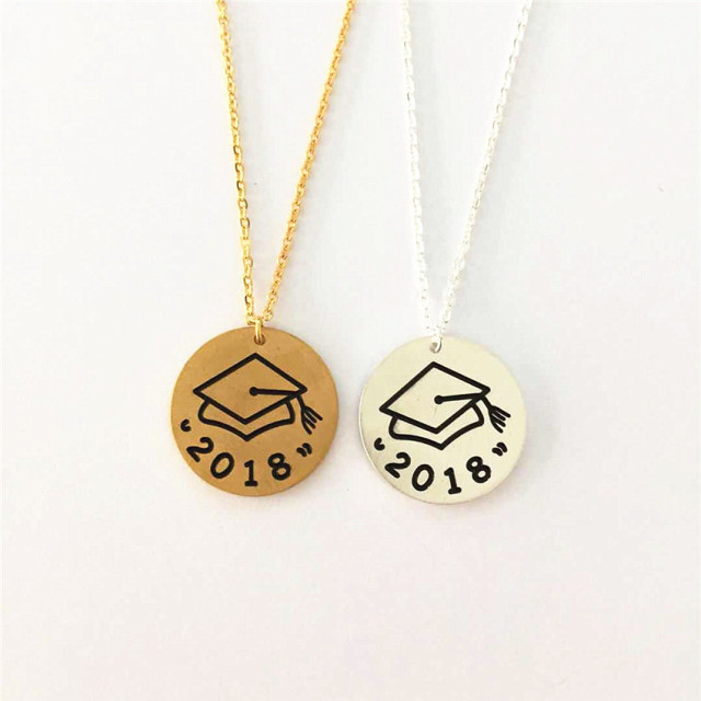 yellow gold necklace diploma pendant charm dp graduation cap