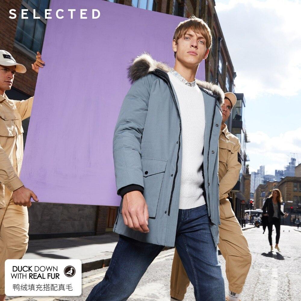 Select hommes hiver fourrure de raton laveur col Parka doudoune chaud longs vêtements grandes poches Style moyen manteau S   418412535 - 3