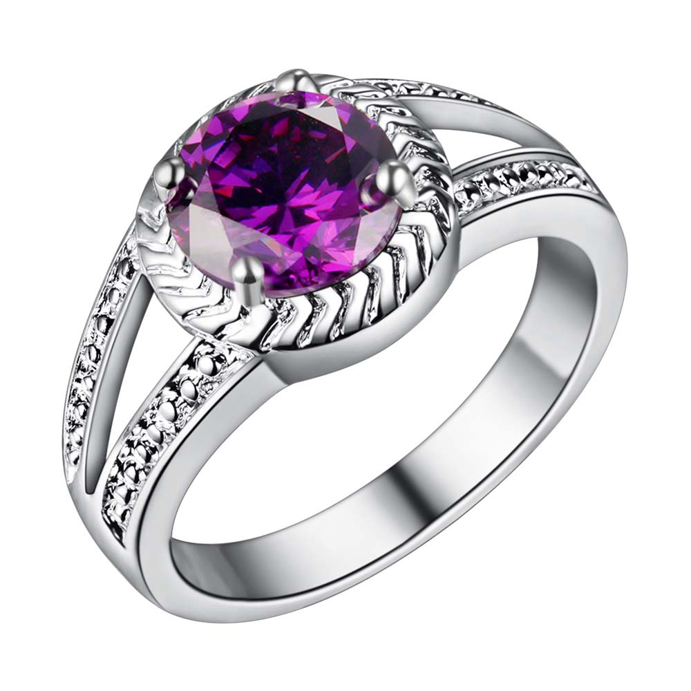 classic purple zircon Wholesale 925 jewelry silver plated