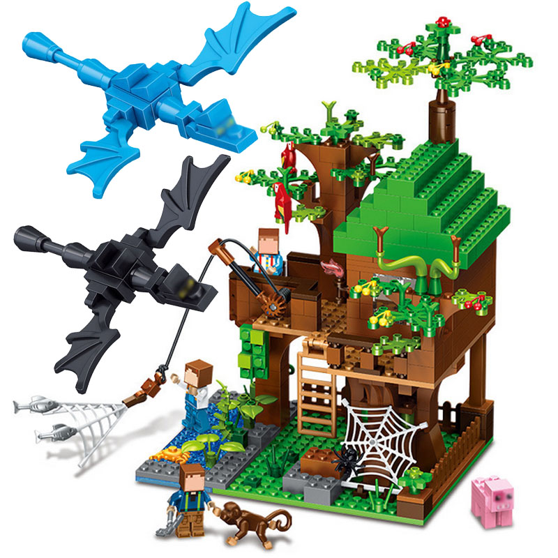 цена на 443pcs Minecrafted Classic Tree House Building Blocks Compatible Legoed My world City village Figures Bricks Toys For Children