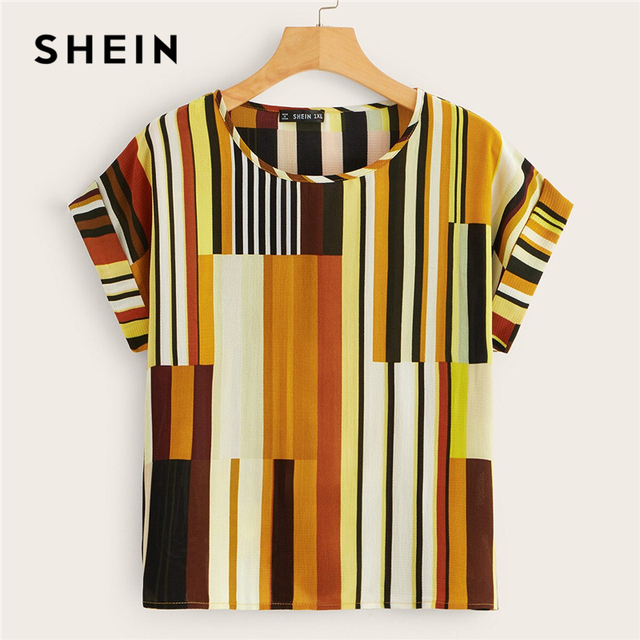 SHEIN Plus Size Multicolor Colorful Striped Top Blouse 2019 Women Summer Casual Short Sleeve Round Neck Big Size Blouses 4