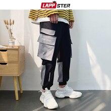 LAPPSTER Color Block Harem Pants Men 2019 Streetwear Hip Hop