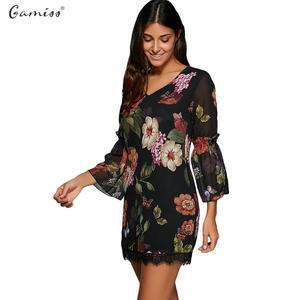 6ad49c9d7303 Gamiss Women Summer Lace Sleeve Sexy Black Boho