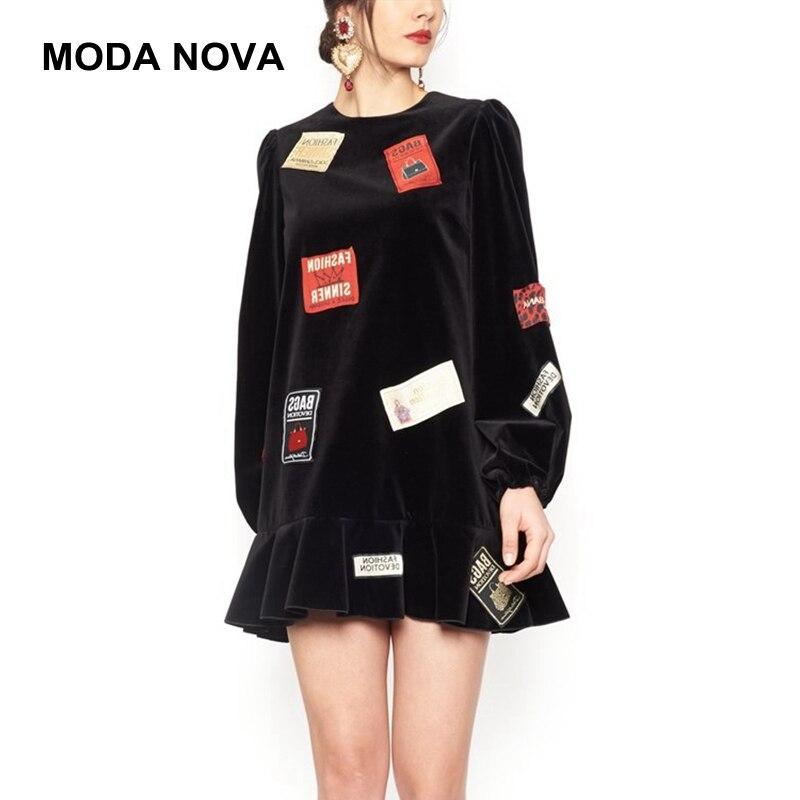 MODA NOVA haute qualité Vintage velours robe femmes hiver printemps lettres Patch à manches longues volants lâche noir robe de piste