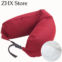 Foam Particle Neck Pillow Durable Elastic Travel Pillow Solid Color Cotton Pillowcase Material Detachable Washable Body Pillow