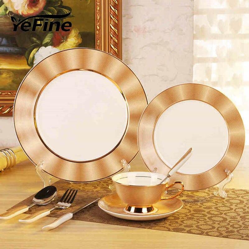 YeFine Porcelain Royal Bone China Dinnerware Set Pottery Dishes And Plates Ceramic Advanced Porcelain Tableware Set
