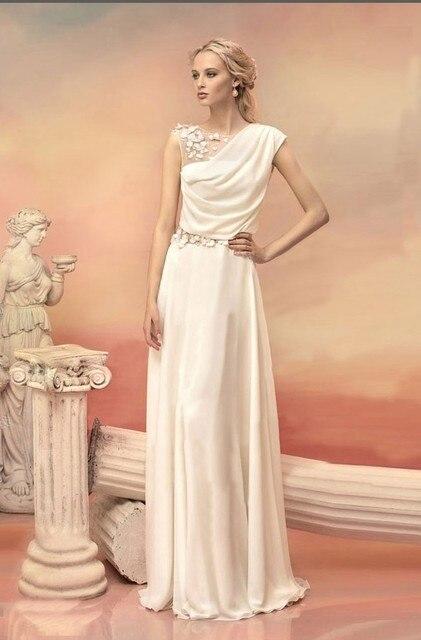 df83a5b83f2 Diosa griega Vestidos de Fiesta Formal Vestidos de Noche Largo Blanco  Vestido de Flores de Tul