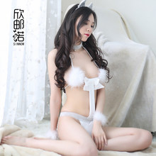 Cat Cosplay Suit Pajamas Three Point Women Underwears Lovely Bra Cute Tail Brief Set Sexy Lingeries for girl Role Play Hair hoop(China)