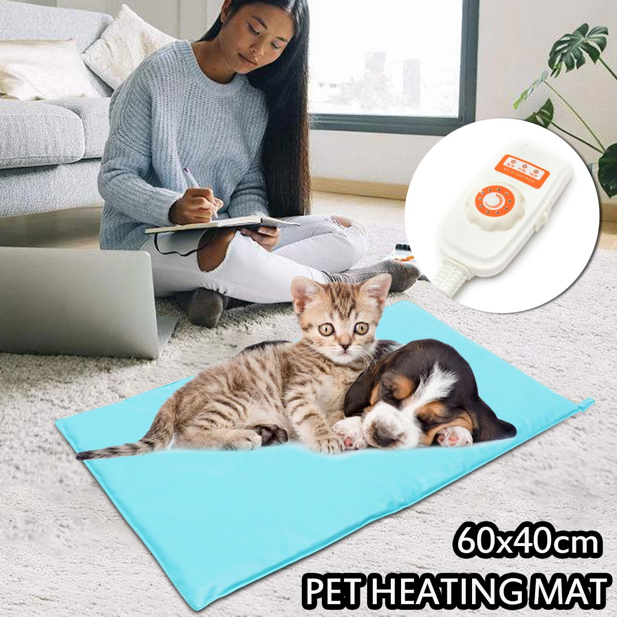 30W 10 Level Electric Heater Pad Adjust Pet Heating Mat Waterproof Warming Winter Pad Dog Cat Bed 60x40cm