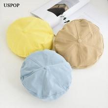 USPOP 2019 New women berets solid color autumn hat for female cotton beret hats
