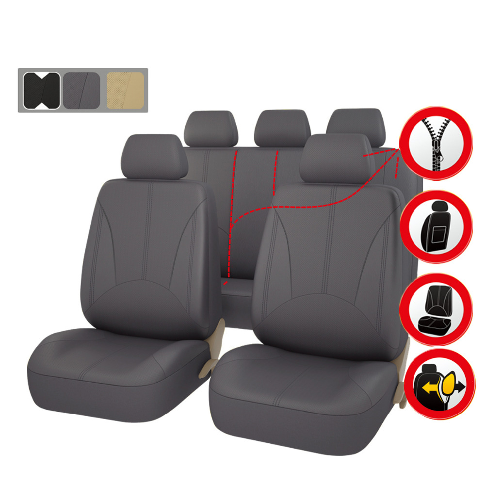 Car-pass Auto Seat Covers PU Leather Black Beige Gray Car Seat Covers  for toyota NMW MAZDA Volkswagen 99% Cars  Car Accessories car rear trunk security shield cargo cover for volkswagen vw tiguan 2016 2017 2018 high qualit black beige auto accessories