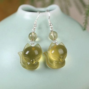 Image 4 - Hurtownie naturalne kryształowe kolczyki Caved Fox spadek kolczyki szczęście dla kobiet dziewczyna prezent kryształ biżuteria
