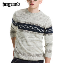 HEE GRAND 2017 Men Fashion Plaid England Style Pullovers Leisure Brief O-neck Sweaters Hombre Jersey  MZM426