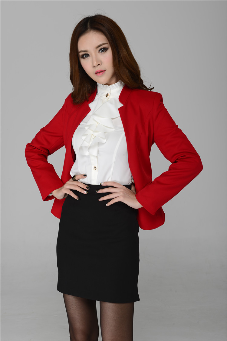 New 2015 Autumn Formal Skirt Suit for Women Workwear Sets Red Plus ...
