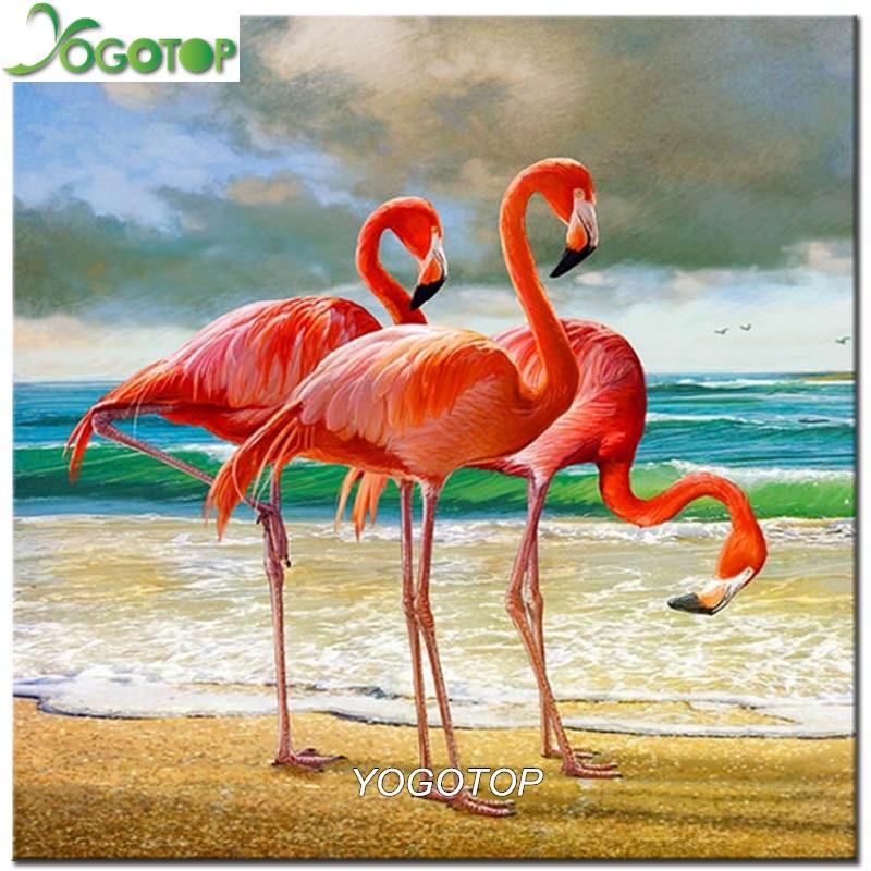 YOGOTOP Diamond Embroidery Flamingo birds Diy Diamond Painting Cross Stitch Home Decor Full Diamond Mosaic Crafts scenery CV659