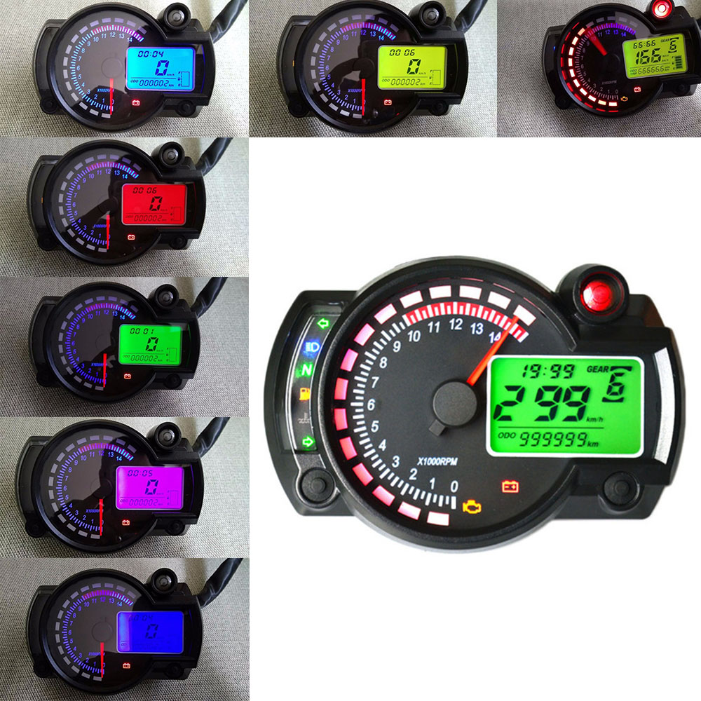Universal Motorcycle Digital LCD Gauge Speedometer dashboard Odometer Tachometer Motorbike Moto Fuel level Speed Instrument