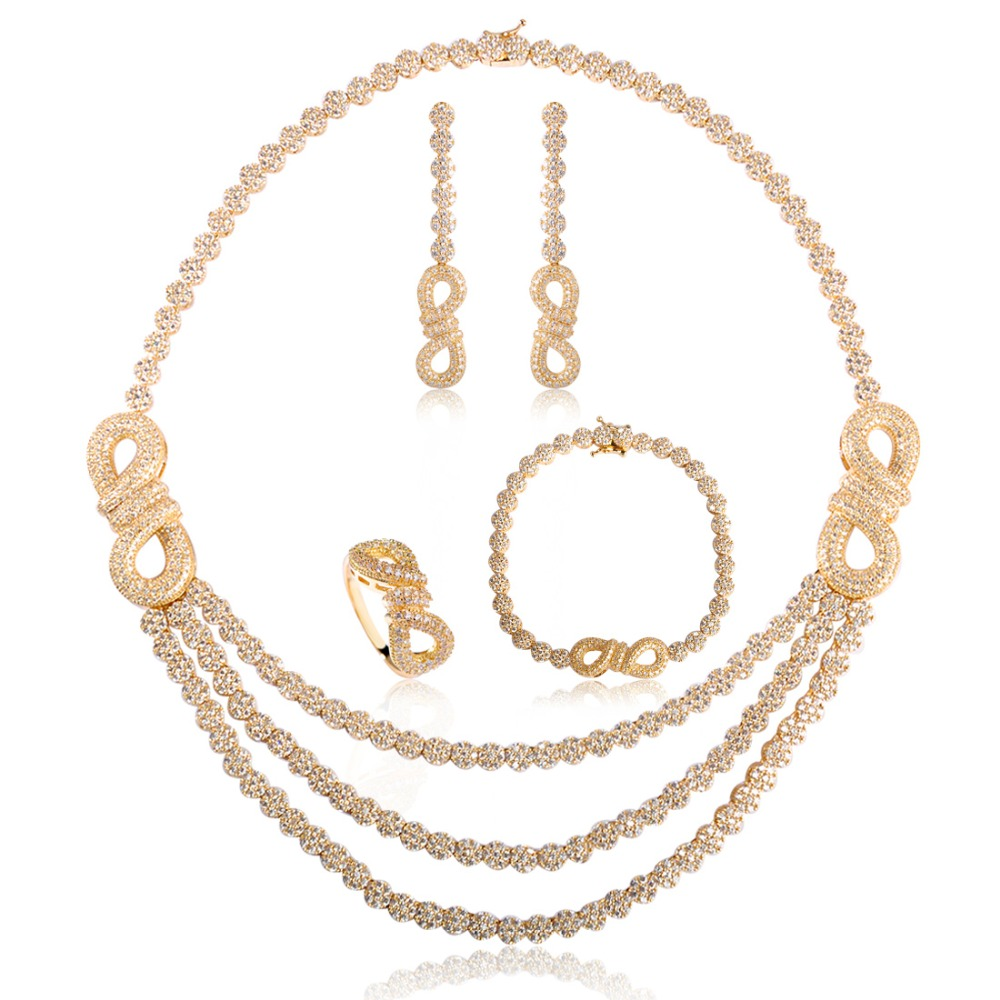 все цены на Dazz Copper CZ Cubic Zircon Women Bridal Jewelry Sets Gold-Color Choker Necklace Earring Bracelet Ring 4 Pcs Set Max Brincos онлайн