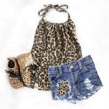 Conjunto de 2 uds para niños recién nacidos, camisetas sin mangas con estampado de leopardo y pantalones vaqueros con agujeros, conjunto de ropa