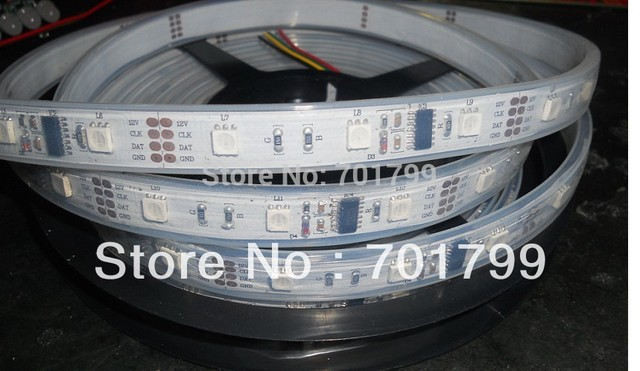 5m led digital strip,DC12V input,WS2801IC(256 scale);12pcs IC and 36pcs 5050 SMD RGB each meter;without controller;IP65