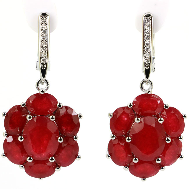 Gorgeous Real Red Ruby, CZ Woman's Wedding Silver Dangle Earrings 38x17mm