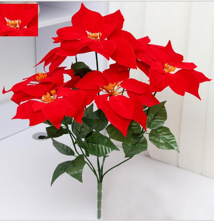 artificial flowers poinsettia  christmas flower home