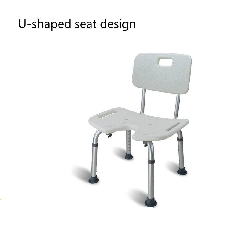 Elder Moveable Shower Chair with Backrest Household Bathroom Non ...