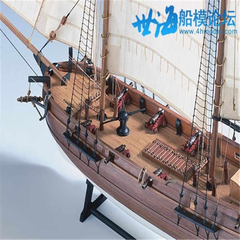 משחקים חינוכיים DIY ערכת דגם ספינה מבוגרים דגם ספינת עץ לייזר לחתוך ספינות פירטים של בקנה מידה 1/60 שחור הזקן הרפתקאות