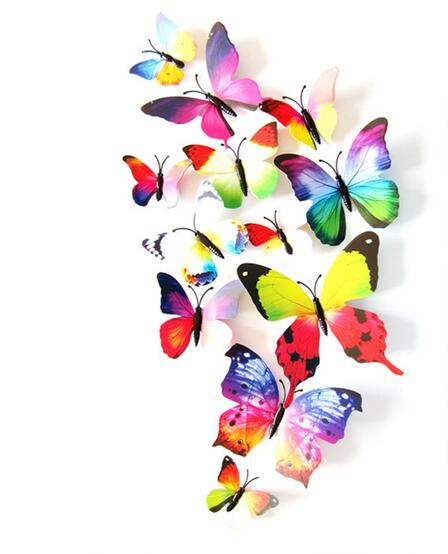 12 Pcs/Lot PVC Butterfly Decals 3D Wall Stickers Home Decor Poster for Kids Rooms Adhesive to Wall Decoration Adesivo De Parede rysunek kolorowy motyle