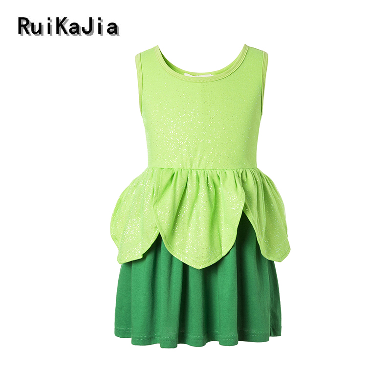 Tinker Bell  Costume princess dress Summer Girls Dress Cartoon Kids Dresses For Girl Clothes children clothing Vestidos summer girls dress 2017 stripe dresses for girl with headband kids clothing infant princess children vestidos kids clothes