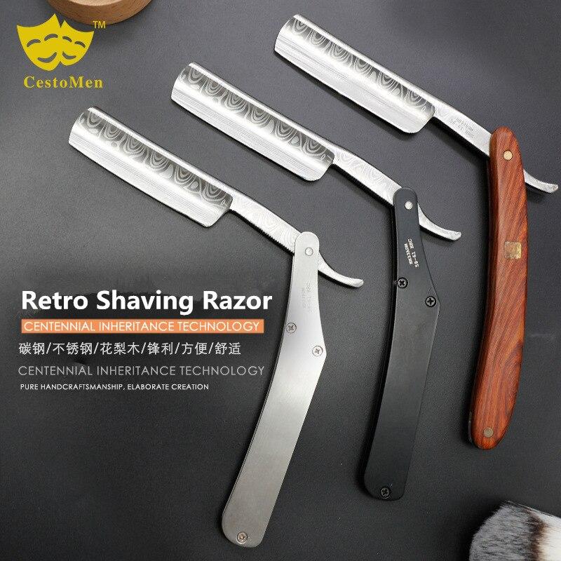 Carbon Steel + Stainless Steel Barber Beard Shaving Razor Professional Salon Retro Barber Hair Changeable Blade Shaving Knife