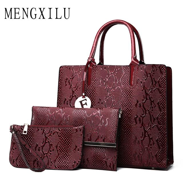 1c6c66164ce2 MENGXILU Brands 3 SET Luxury Handbags Women Bags Designer Ladies Shoulder  Bags Women Leather Handbags Composite 2018 Sac A Main