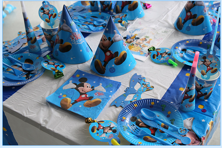 132pcs/bag Mickey Mouse Movie Baby Birthday Party Decorations Kids Party Supplies Party Disposable Tableware Set Favors