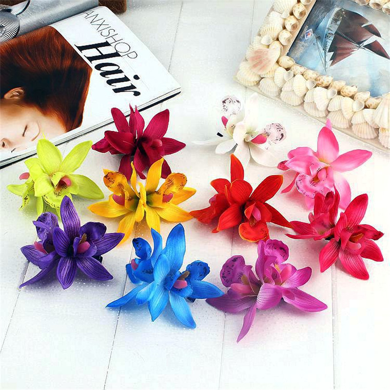 Hot Sale Women Summer Bohemia Beach Lily Orchid Flower Hair Clip Bridal Wedding Headwear Holiday Hair Ornaments Accessories women girl bohemia bridal camellias hairband combs barrette wedding decoration hair accessories beach headwear