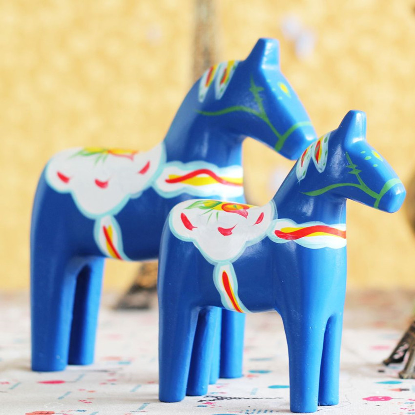 NEW Modern Hand-painted Red Wooden Horse Home ornaments Sweden National Treasure Wooden Craft Wedding Gift Home Decoration Gift