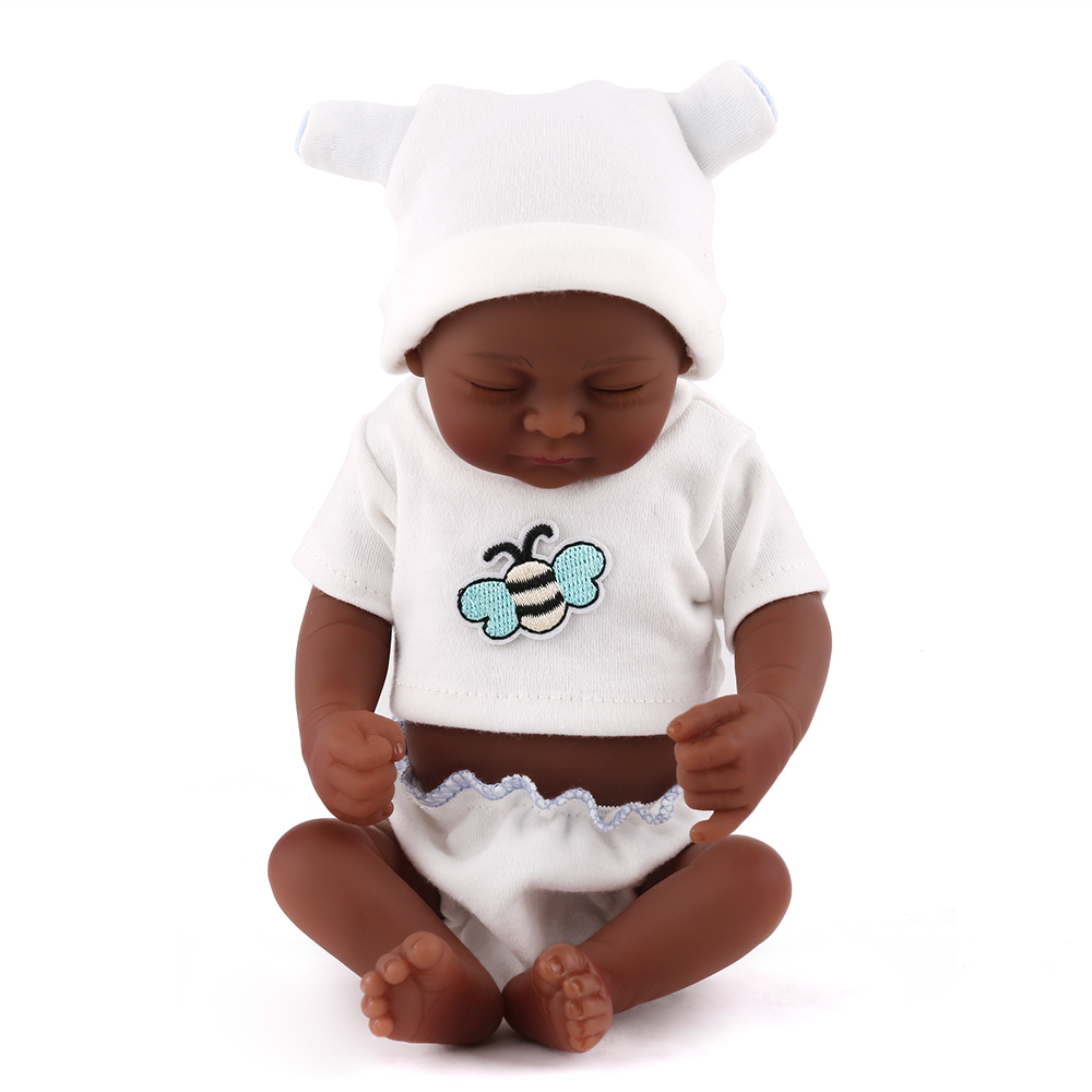 28cm full silicone reborn baby dolls lifelike Mini black reborn babies bonecas children play house toys girls gift 1