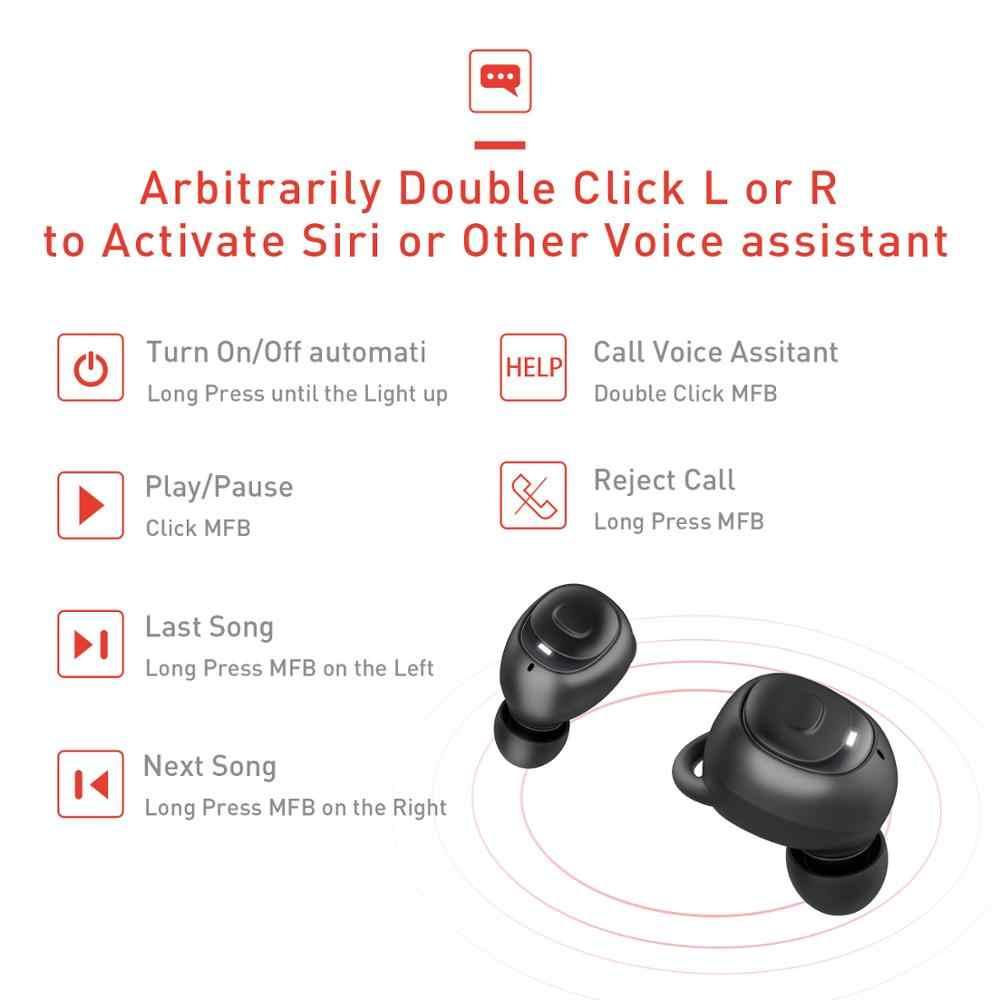 Havit I93 Tws Mini Nirkabel Earbud In-Ear Bluetooth Earphone V5.0 Olahraga IPX5 Tahan Air dengan 2200 M Ah Kotak Isi Ulang headset