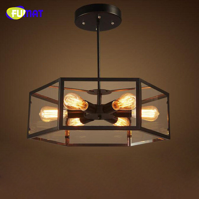 industrial loft lighting. FUMAT Industrial Loft Retro Glass Box Ceiling Light With 6 Edison Bulbs Iron Lamp Bedroom Lighting D