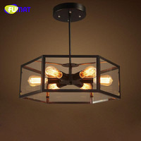 FUMAT Industrial Loft Retro Glass Box Ceiling Light with 6 Edison Bulbs Iron Ceiling Lamp Bedroom Cafe Bar Ceiling Lighting
