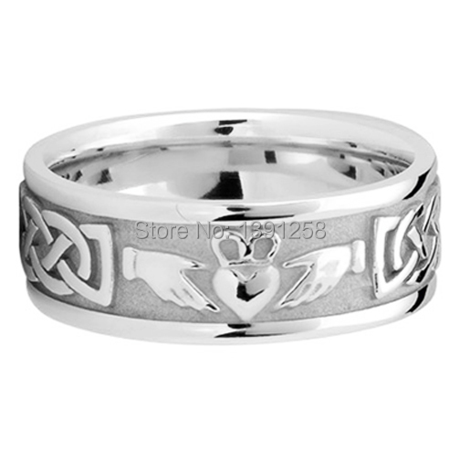 0442f049621 6mm Celtic Knot claddagh Engrave Pattern men Wedding Ring Palladium pd500  pd950 band jewelry gent man Free engraving best gift