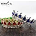 Enorme Real Europeu Cabelo Coroa Vermelha/Azul Strass Imitação Rubi Tiara Super Grande Quinceanera Coroa acessórios Do cabelo do Casamento