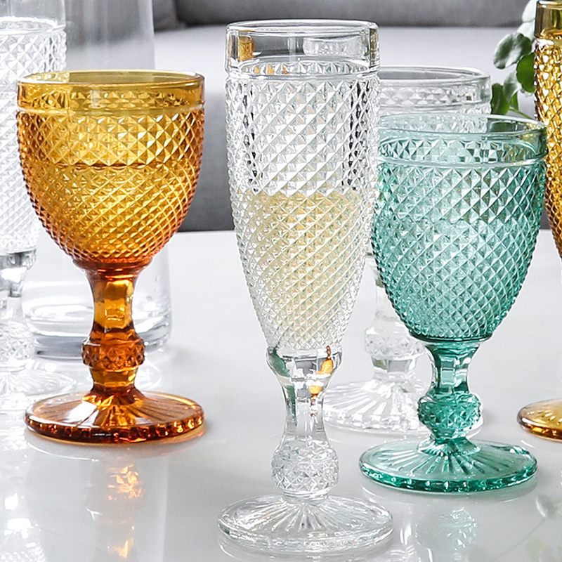 2 pcs Colorful Vintage relief wine Glass goblet engraving glass champagne cup household juice wedding cups